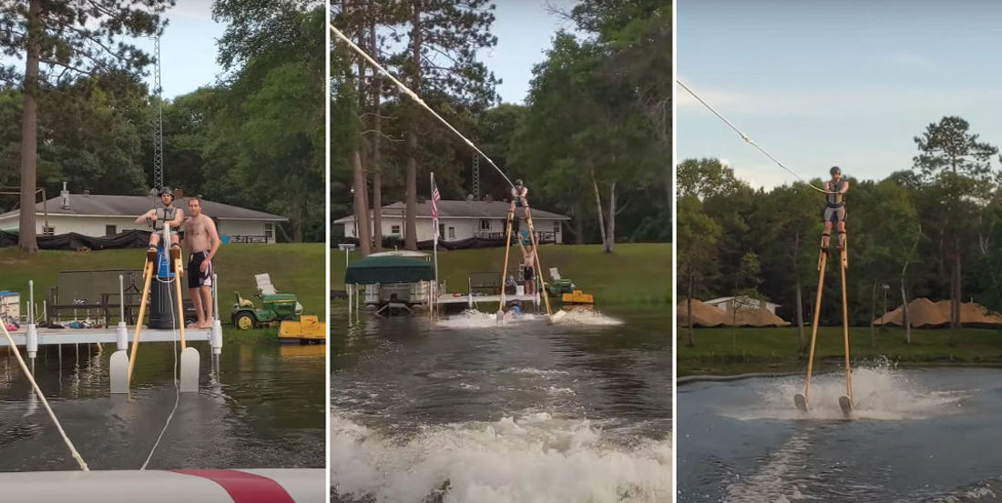Dare To Dream: Man Successfully Water Skis Wearing 11-Foot Stilts