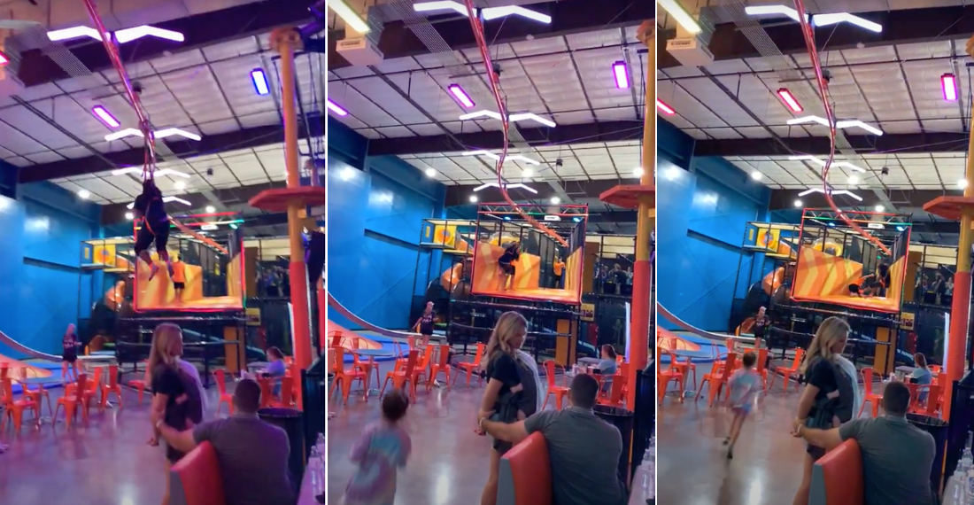 Coming In Hot!: Indoor Zipliner Takes Out 'Catcher' Employee