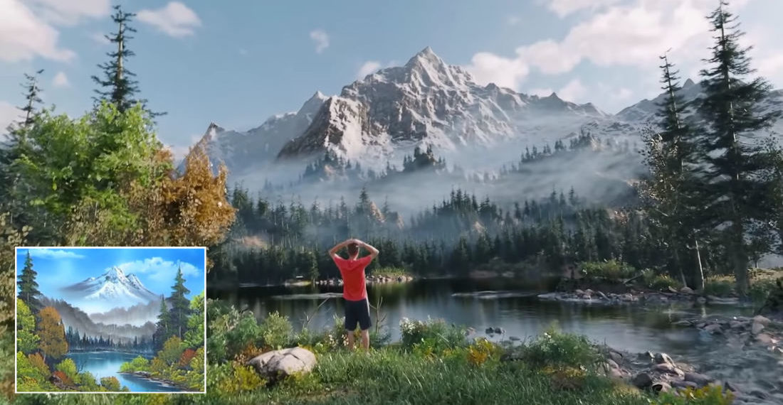 Guy Creates Fully 3D World From Bob Ross Painting