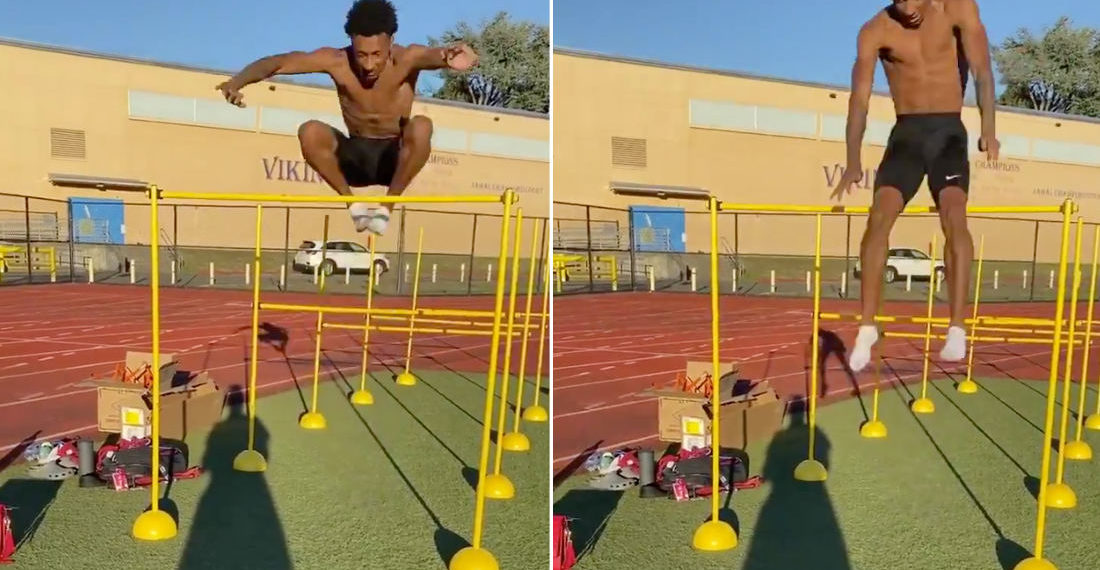 Track And Field Star Casually Clears 61-Inch Hurdle While Practicing