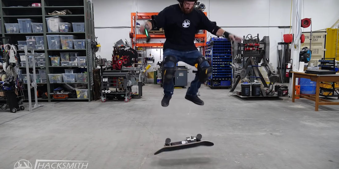 Skateboard That Automatically Kickflips With The Press Of A Playstation Controller Button