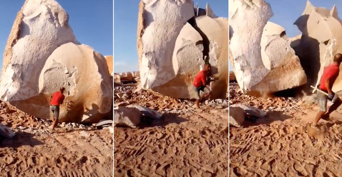 Man Splits Giant Boulder In Half