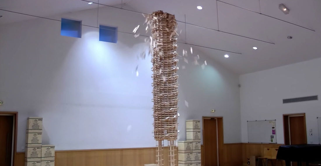 A 22,000 Piece Wooden Block Coliseum And 20-Foot Tower Being Destroyed