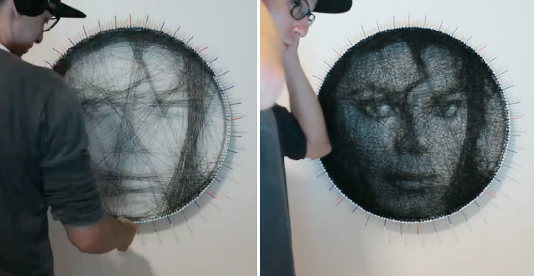 Guy Produces Incredible Single String Art Portraits Of Michael Jackson And Elvis