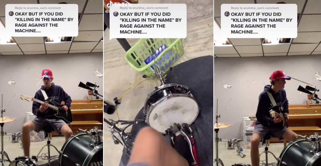 One-Man Band Performs Rage Against The Machine's 'Killing in The Name Of' Intro
