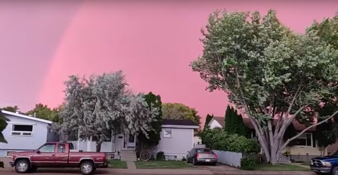 What Does It All Mean?: Pink Rainbow During Lightning Storm