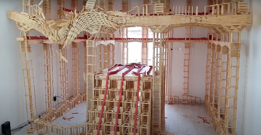 Holy Smokes: The Destruction Of An 18,000 Piece Wooden Block Tower That Takes Up An Entire Room