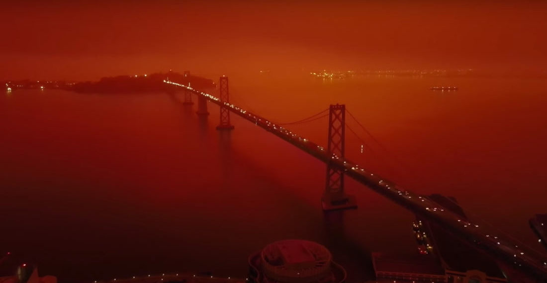 Drone Footage Of The Firey Orange Skies Of San Francisco, Set To The Blade Runner 2049 Score