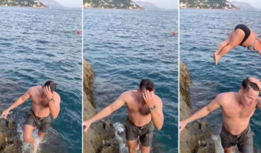 Haha!:  Hunk's Slow-Motion James Bond Exit From Ocean Gets Upstaged