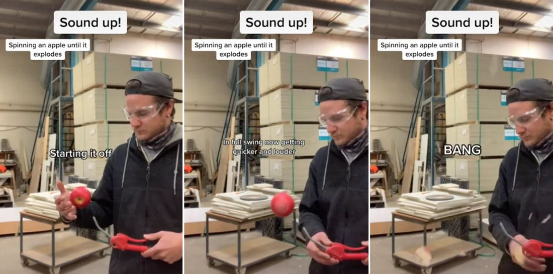 Guy Spinning Hovering Apple With Compressed Air Until It Explodes