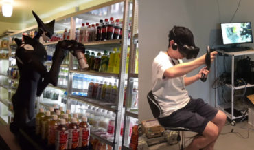 Alien Humanoid Robot Stocking Convenience Store Drinks
