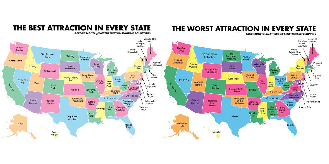 The United States Of The Best And Worst Attraction In Each State