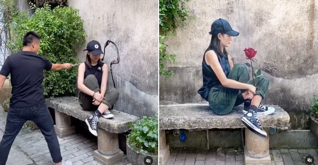 Artist Creates 3D Mural Of His Girlfriend Sitting On Bench