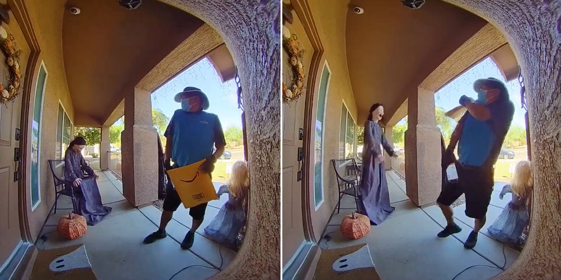 Surprise!: Amazon Delivery Guy Scared By Motion-Activated Halloween Decoration