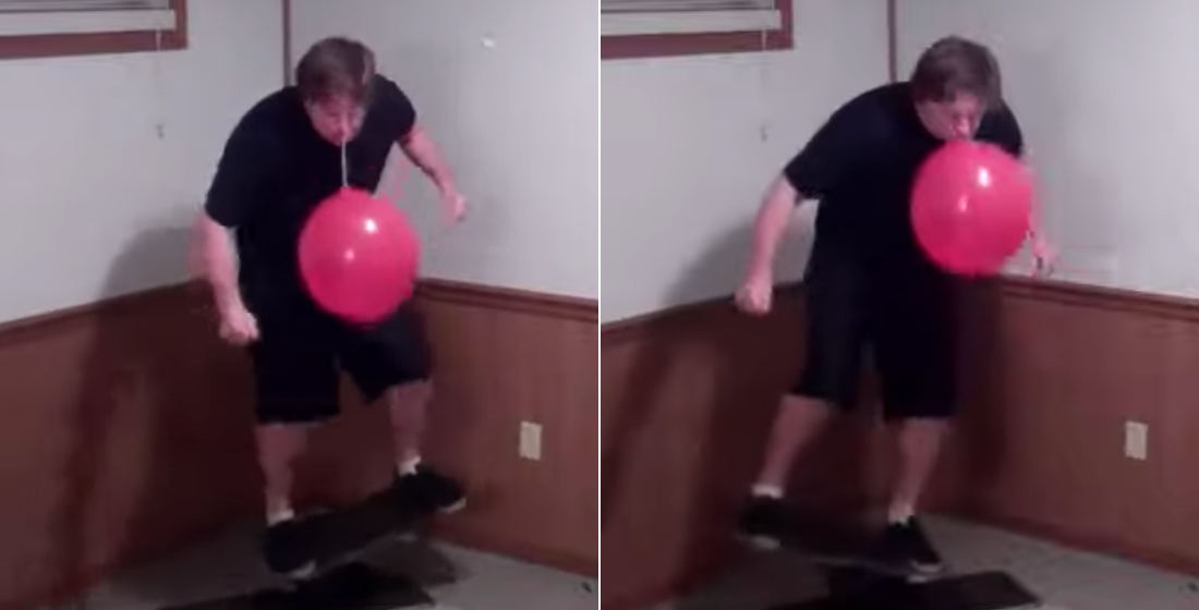 Dare To Dream: Man On Balance Board Punch-Ballooning With His Mouth