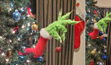 Grinch Arm Sticking Out Of Christmas Tree Ornament Holder
