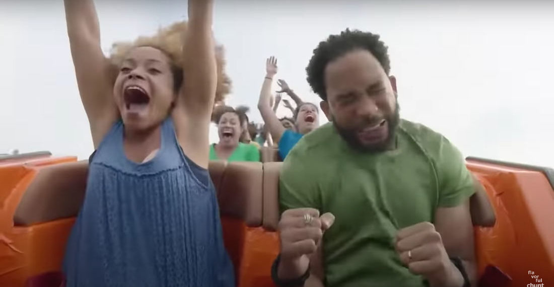Behind-The-Scenes Footage Of Commercial Actor Struggling On Roller Coaster