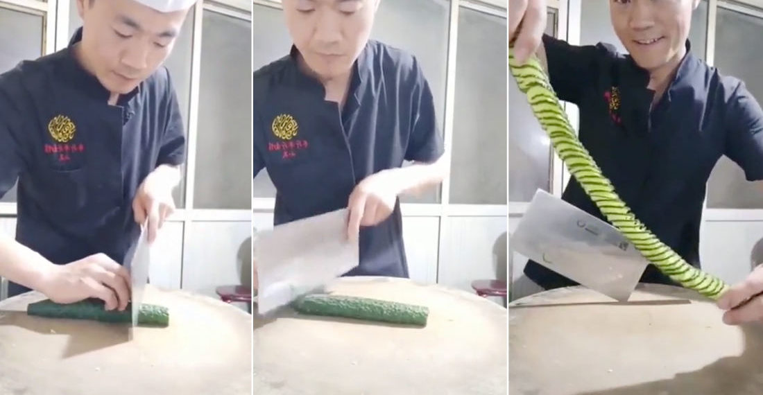 Chef Demonstrates Knife Skills By Quickly Dicing A Cucumber Slinky