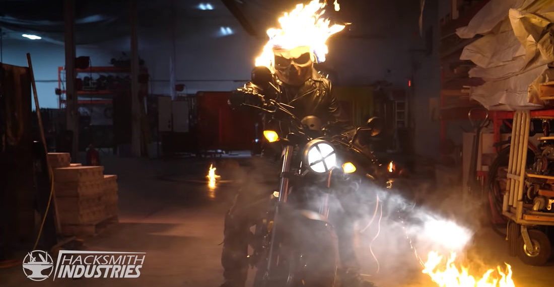 A Real Life Flaming Ghost Rider Helmet Powered By Propane