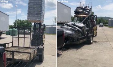 Forklift Crushes Trailer With Pallet Load Of Mulch