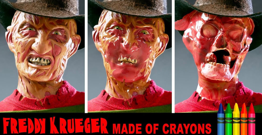 Freddy Krueger Bust Sculpted From Crayons Gets Melted