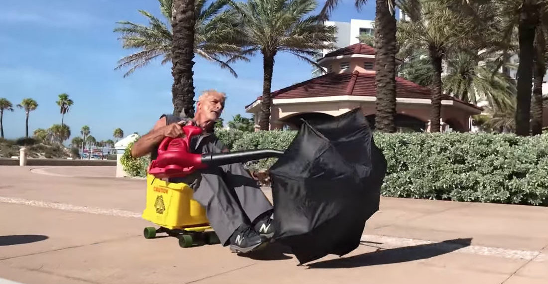Florida Man Creates Vehicle Out Of Mop Bucket, Skateboard, Leaf Blower, Umbrella