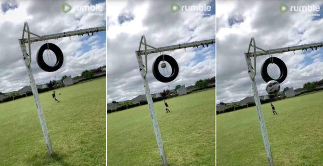 Never Give Up: Kid Spends Entire Morning Trying To Make Soccer Trick Shot