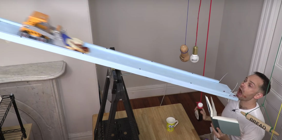A Series Of Rube Goldberg Machines That Make And Feed A Person A PB&J Sandwich