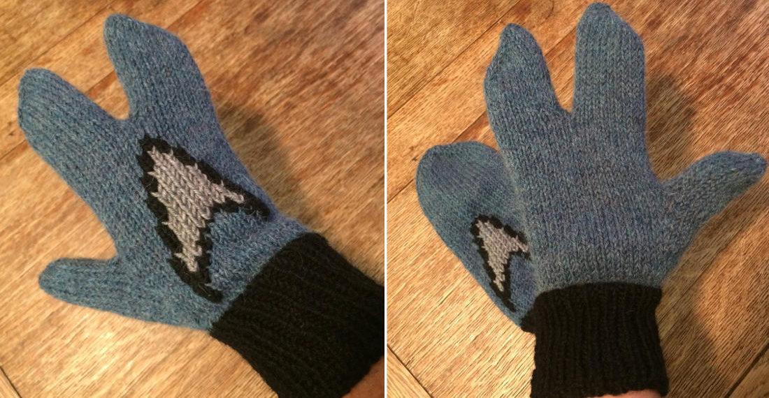 Hand-Knit Vulcan 'Live Long And Prosper' Mittens