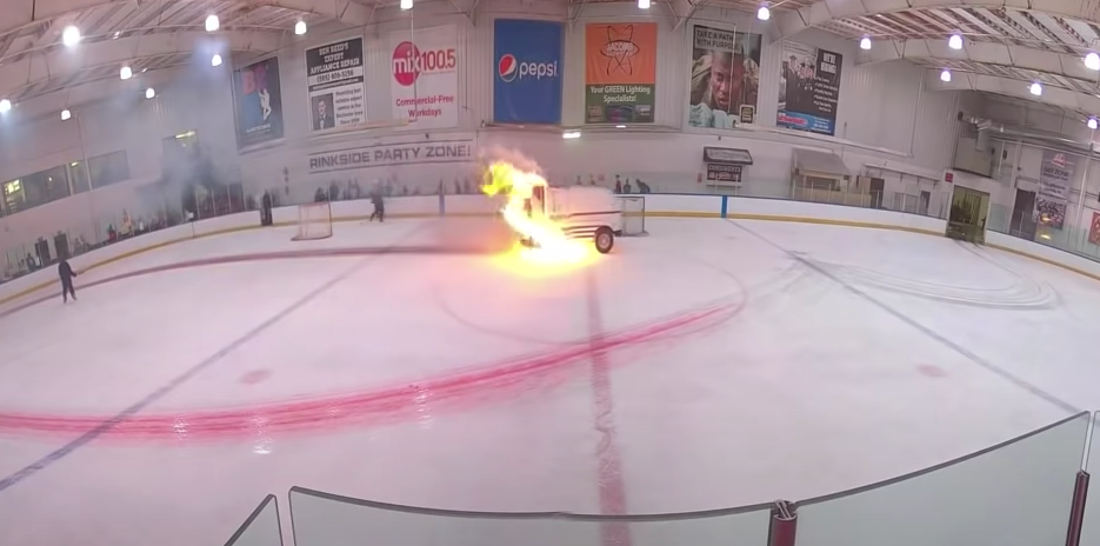 Something's Not Right Here: Zamboni Catches Fire While Resurfacing Ice Rink