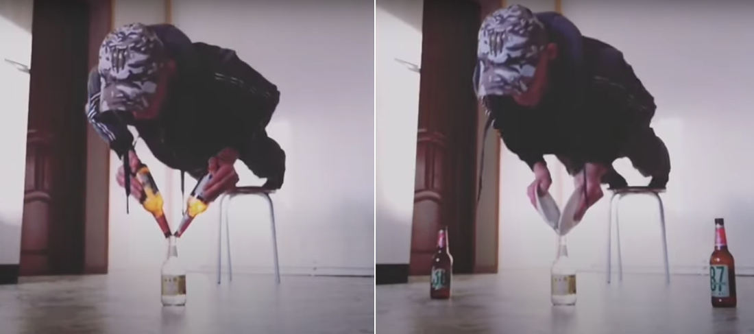 Guy Does Push-Ups Balancing Two Beer Bottles On Top Of Another Beer Bottle