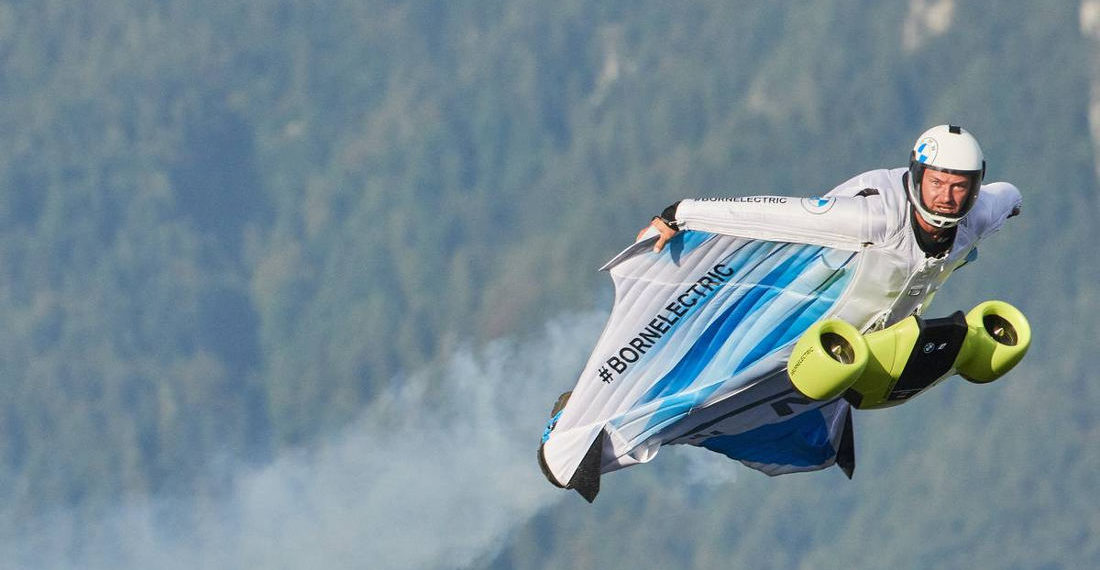 Video Of BMW's Electric Wingsuit Powered By Chest Mounted Impellers