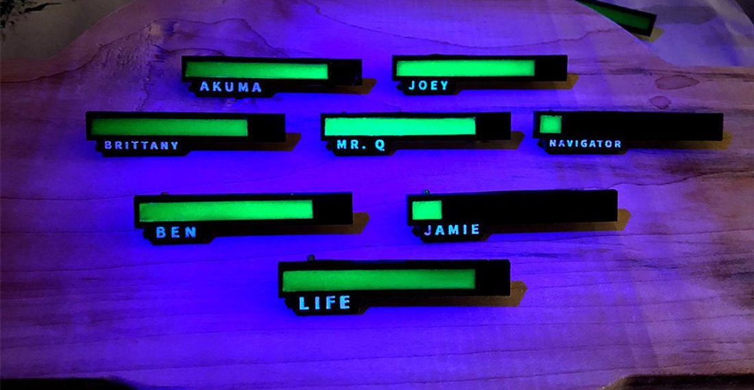 Personalized Glow In The Dark Video Game Life Bar Pins