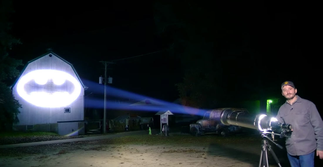 Guy Builds Real Life Bat-Signal With World's Most Powerful Flashlight