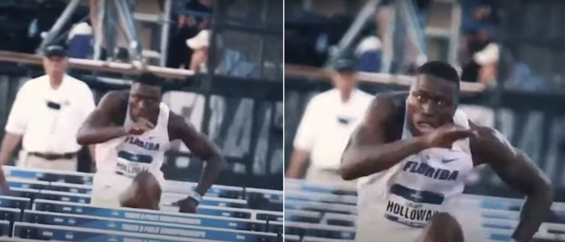 Video Of World Champion Hurdler With His Head Stabilized