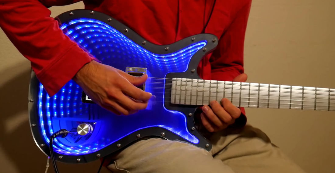 Guy Builds An Impressive Infinity Mirror Electric Guitar