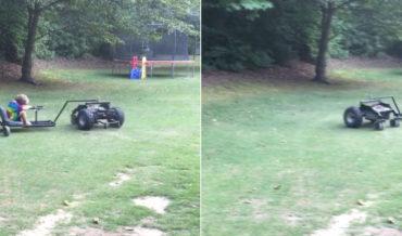 Kid Takes A Ride On Custom Built Spinning R/C Car