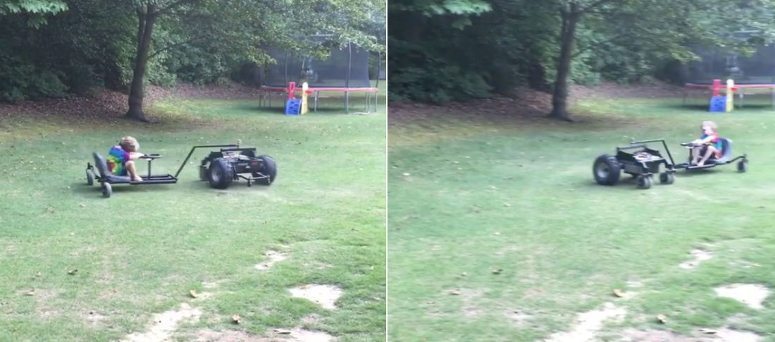 Kid Takes A Ride On Custom Built Spinning R/C Car