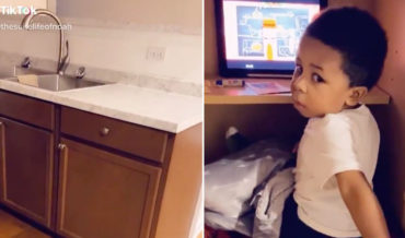 Smart Thinking: Kid Makes Tiny Private Office Out Of Kitchen Cabinet
