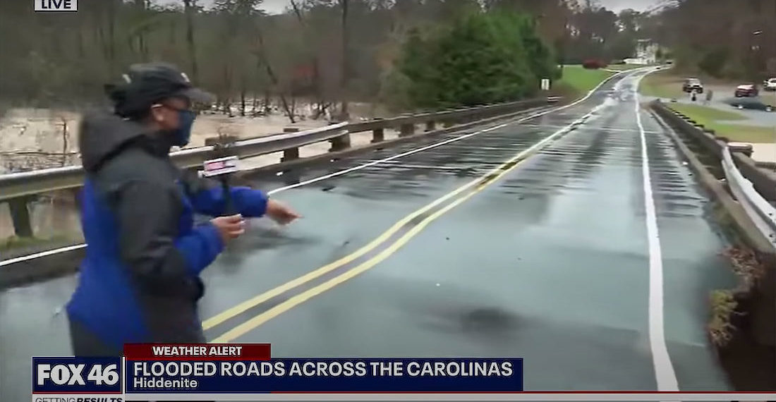 Bridge Collapses On Live TV While Reporter Reports About Sinking Bridge