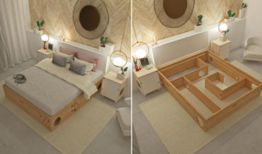 A Platform Bed Built With A Maze For Cats Beneath It