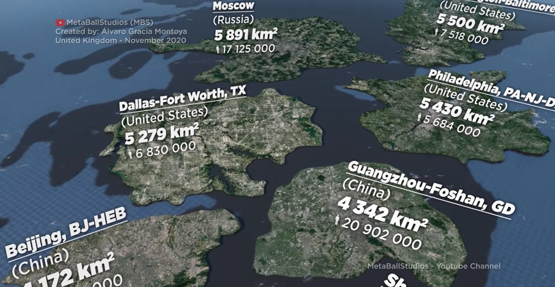 A Visualization Of The Size Of Cities By Total Urban Area