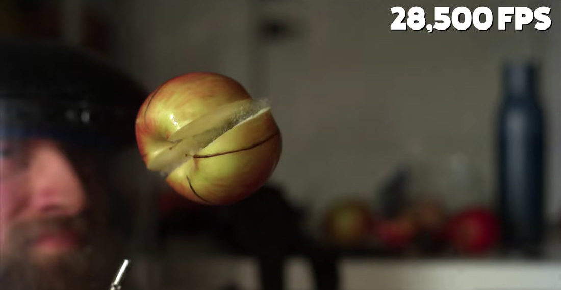 Hovering Apple Spins In Jet Of Compressed Air Until It Explodes, Filmed At 28,500FPS
