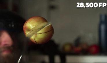Hovering Apple Spins In Jet Of Compressed Air Until It Explodes, Filmed At 28,500FPS