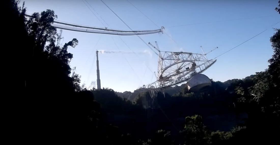 Control Tower And Drone View Of The Arecibo Telescope Collapse