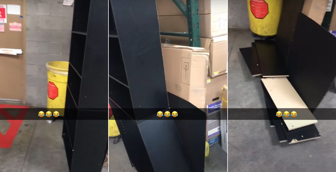 LOL: Newly Built Bookcase Rapidly Disassembles Itself