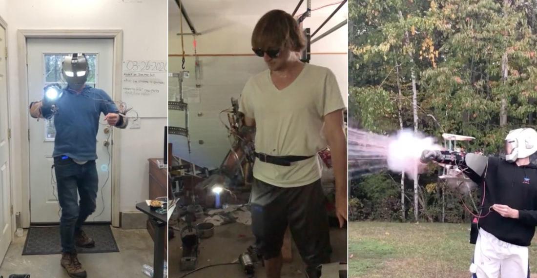 Man Demonstrates His Impressive Homemade Iron Man Armor Pieces