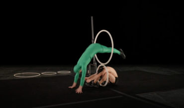 Acrobatic Troupe's Skillful Jumping Through Hoops Routine