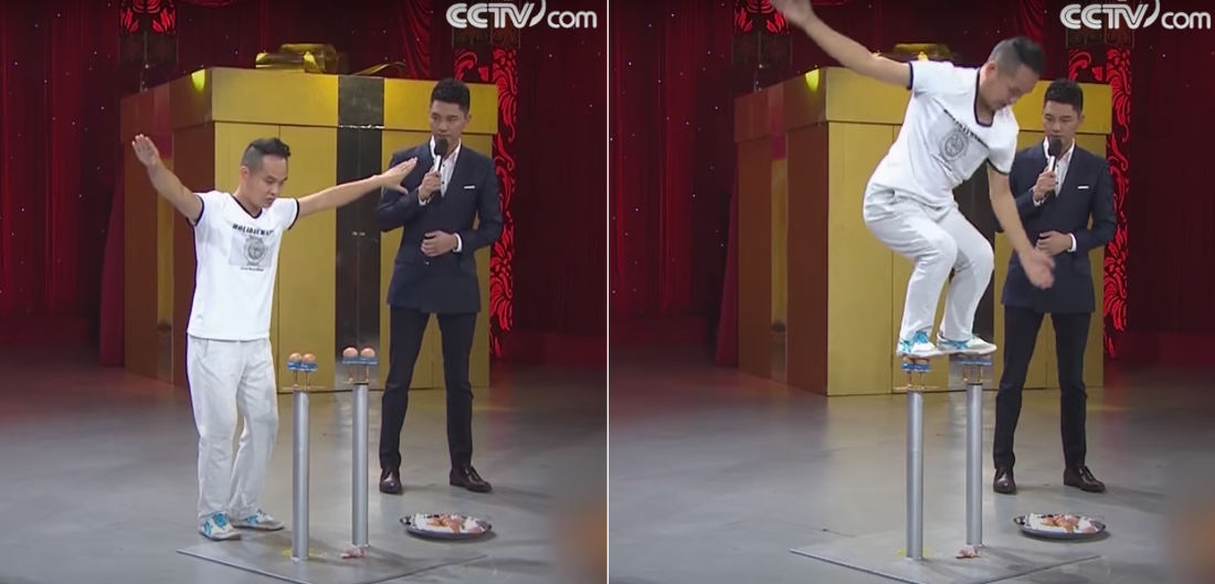 What The?: Guy Jumps On Raw Eggs Without Breaking Them