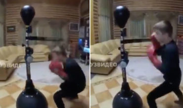 Holy Smokes!: Kid's Very Impressive Boxing Workout With Swinging Reflex Arm